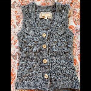 Anthropologie Sarsaparilla knit knot detailed vest